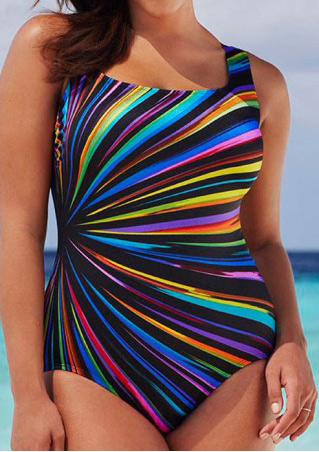 Printed Backless Plus Size Swimsuit