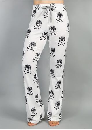 Skull Printed Drawstring Pants