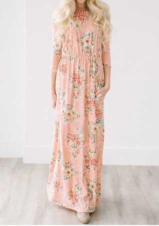 Floral Pocket Three Quarter Sleeve Maxi Dress