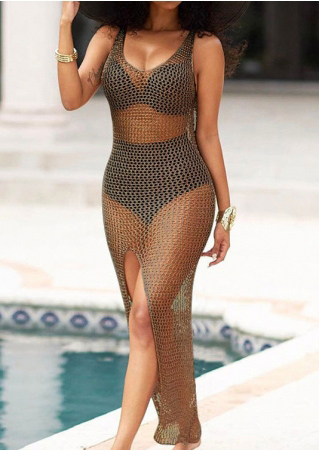 Solid Slit See-Through Cover Up
