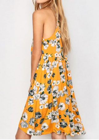 Floral Sleeveless Casual Mini Dress