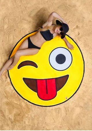 Smile Emoji Round Beach Blanket