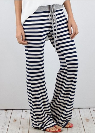 Striped Drawstring Flare Pants