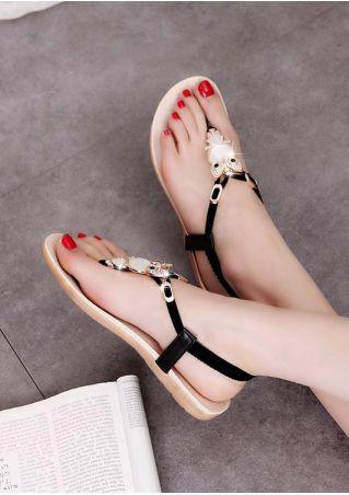 Owl Clip Toe Elastic Flat Sandals