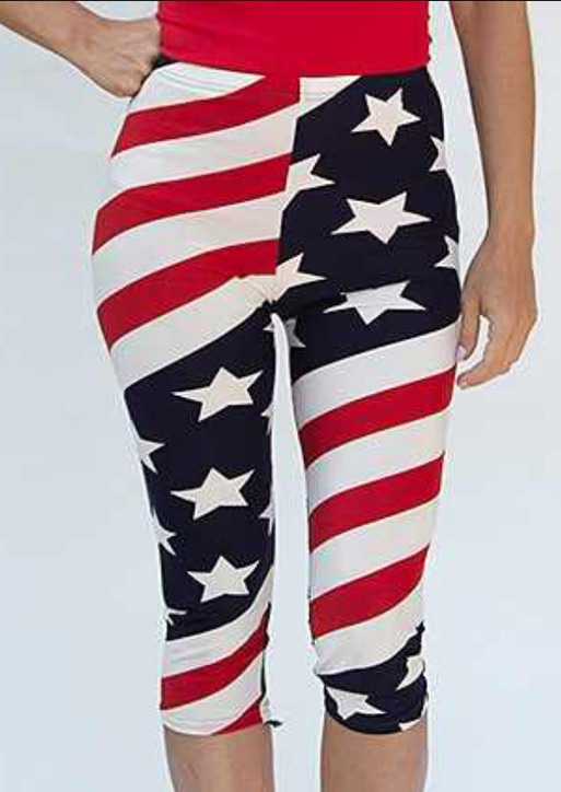 Image of American Flag Striped Star Sport Leggings