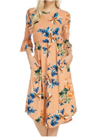 Floral Flare Sleeve Casual Dress