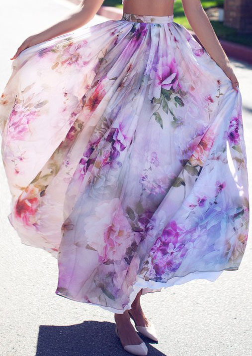Image of Floral Ruffled Maxi Skirt