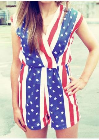 American Flag Star Striped V-Neck Romper
