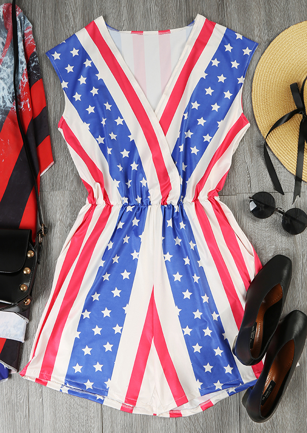 Image of American Flag Star Striped V-Neck Romper