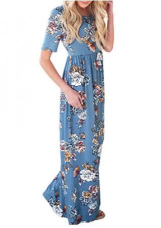 Floral Short Sleeve O-Neck Casual Maxi Dress