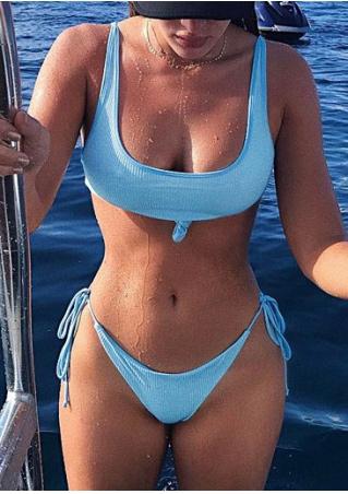 Solid Tie String Bikini Set