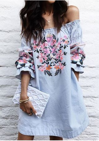Floral Off Shoulder Ruffled Mini Dress without Necklace