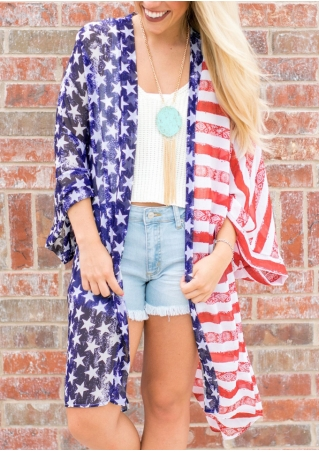 American Flag Striped Star Cardigan