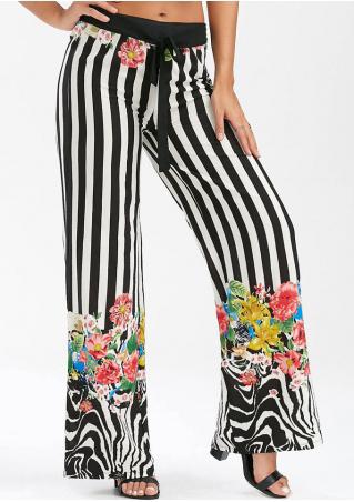 Floral Striped Tie Pocket Wide Leg Pants
