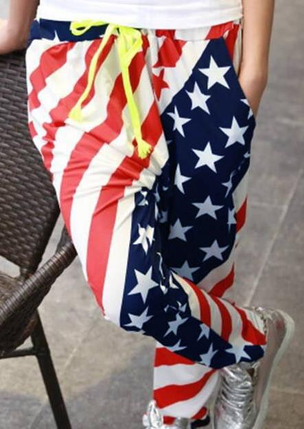 Image of American Flag Drawstring Harem Pants