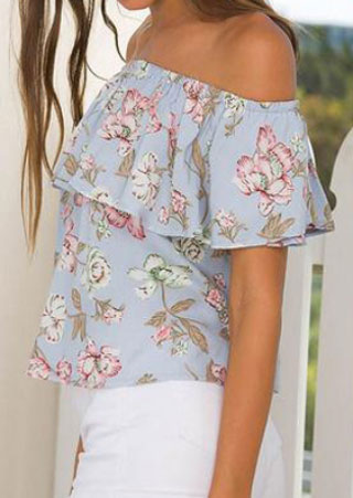 Floral Flouncing Layered Off Shoulder Blouse