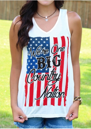 We're One Big Country Nation American Flag Tank without Necklace