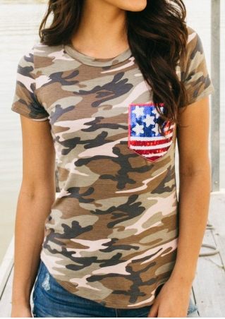 Camouflage American Flag Pocket T-Shirt Camouflage