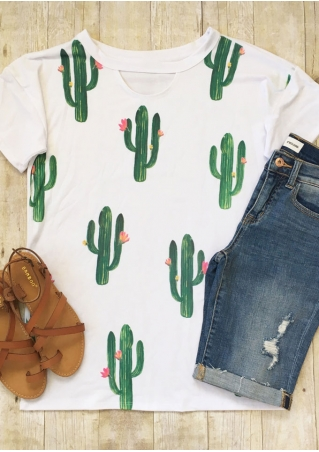 Cactus Floral Cut Out O-Neck T-Shirt Cactus