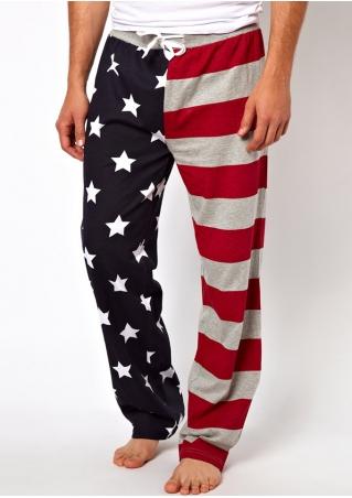 American Flag Star Drawstring Pants