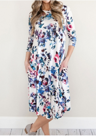 Floral Pocket Casual Dress