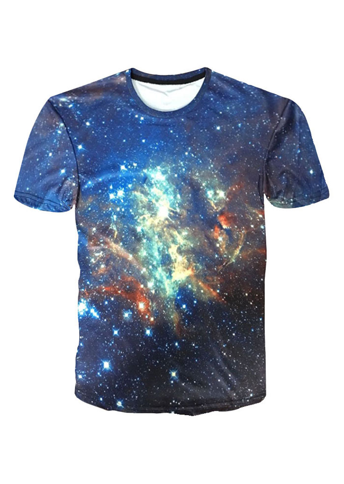 New Starry Sky Printed O-Neck T-Shirt, Tops, T-Shirts