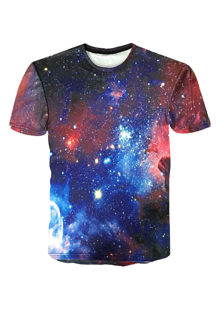 Starry Sky Printed O-Neck T-Shirt thumbnail