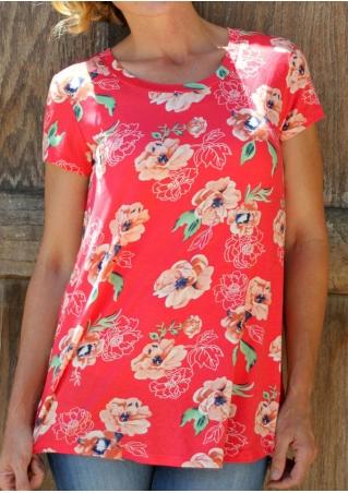 Floral O-Neck Short Sleeve T-Shirt