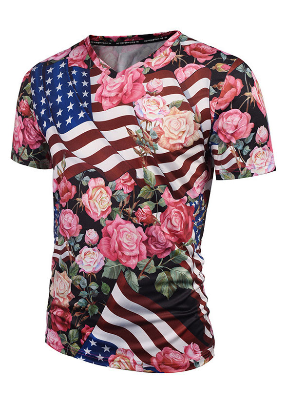 New Floral American Flag V-Neck T-Shirt, Tops, T-Shirts
