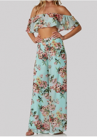 Floral Flouncing Crop Top and Wide Leg Pants Set