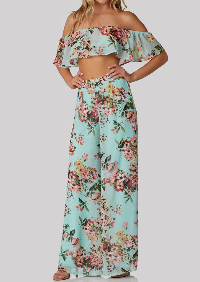 Floral Flouncing Crop Top and Wide Leg Pants Set 30374