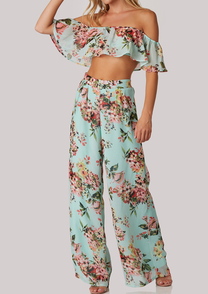 Image of Floral Flouncing Crop Top and Wide Leg Pants Set
