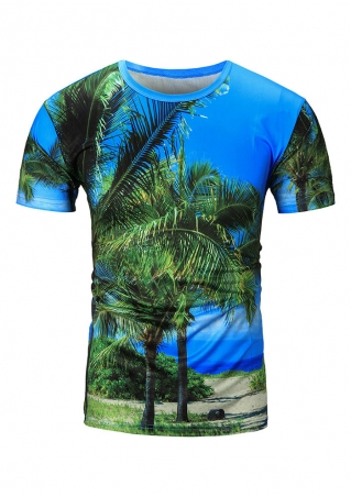 3D Coconut Tree Printed T-Shirt