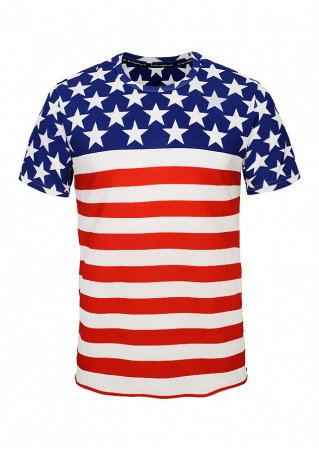 American Flag Striped O-Neck Short Sleeve T-Shirt