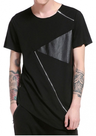 Splicing Zipper Short Sleeve T-Shirt