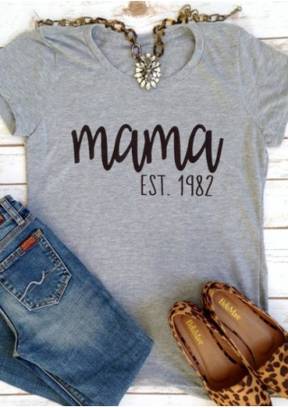 Mama O-Neck Short Sleeve T-Shirt