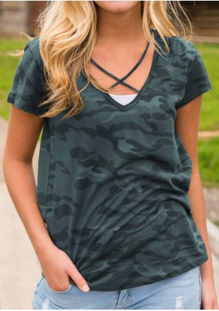 Camouflage Cross V-Neck T-Shirt Camouflage