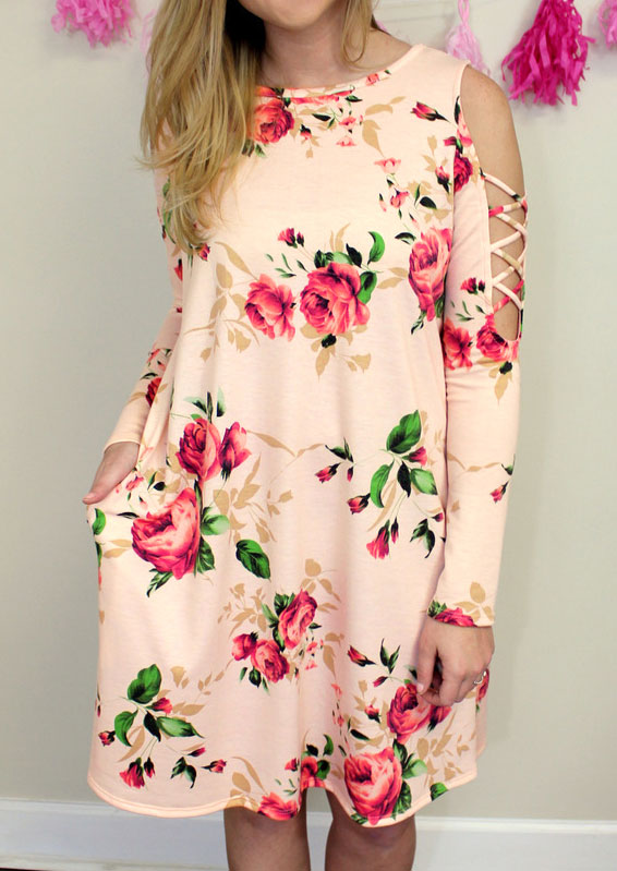 Floral Cold Shoulder Criss-Cross Casual Dress 30468