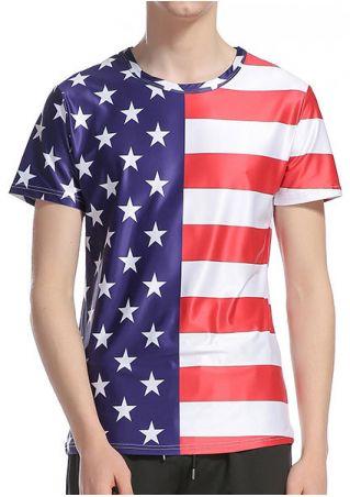 American Flag Printed Short Sleeve T-Shirt