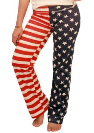 American Flag Striped Star Pants