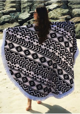 Geometric Tassel Splicing Beach Blanket
