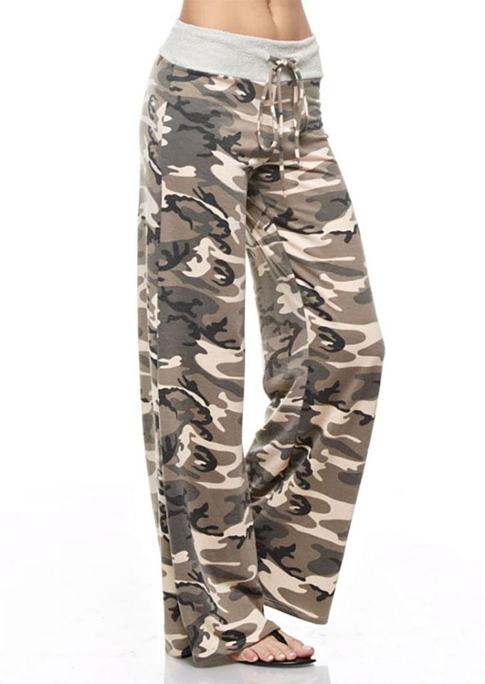 Camouflage Drawstring Wide Leg Pants Fairyseason