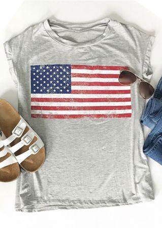 American Flag Printed O-Neck T-Shirt American