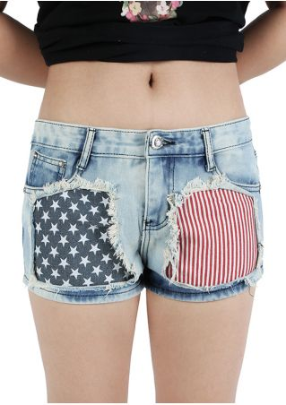 American Flag Pocket Striped Shorts