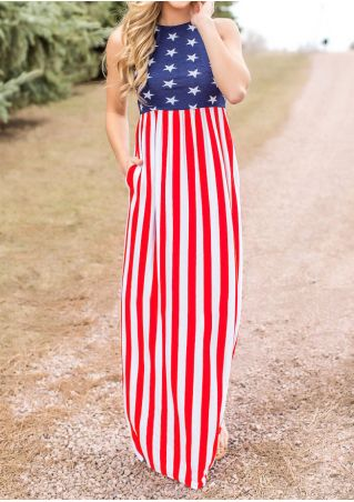 American Flag Printed Maxi Dress