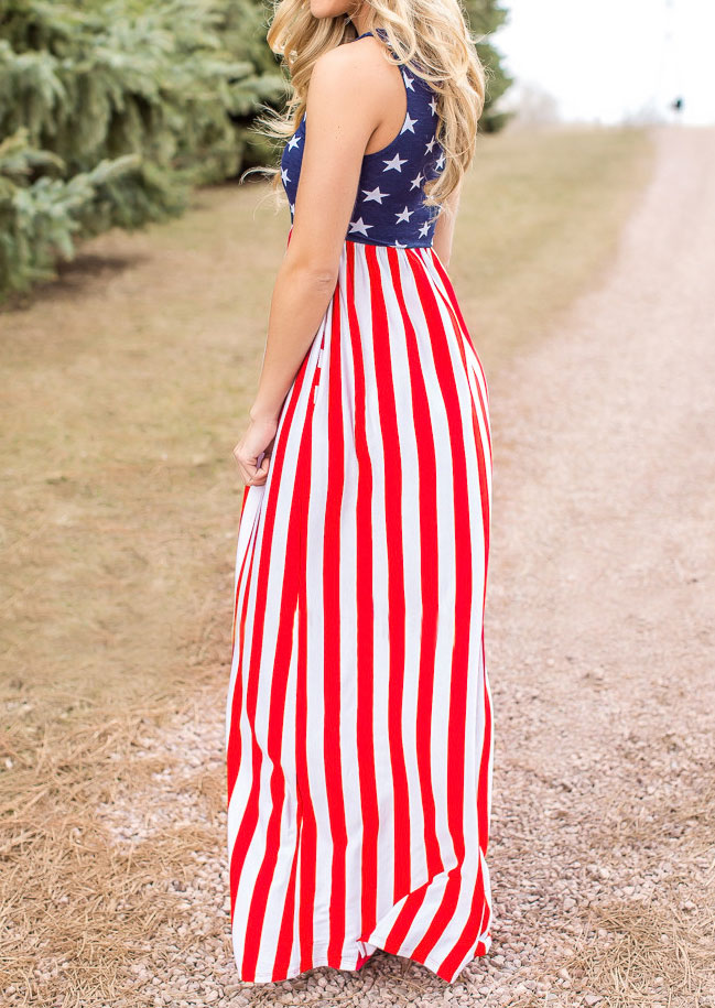 American Flag Printed Maxi Dress Fairyseason