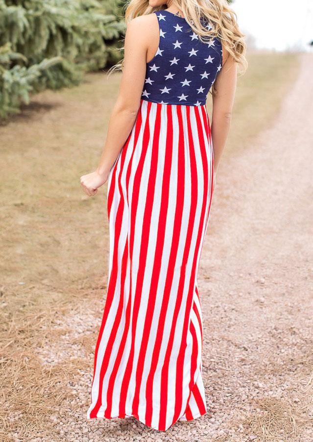 American Flag Printed Maxi Dress Fairyseason