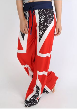 British Flag Drawstring Wide Leg Pants