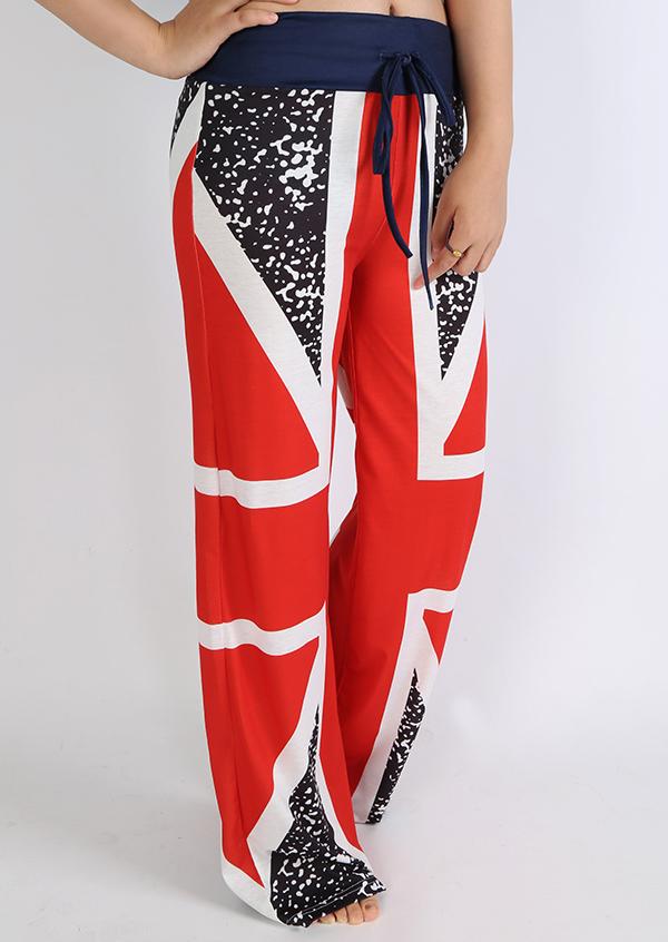 British Flag Drawstring Wide Leg Pants Fairyseason
