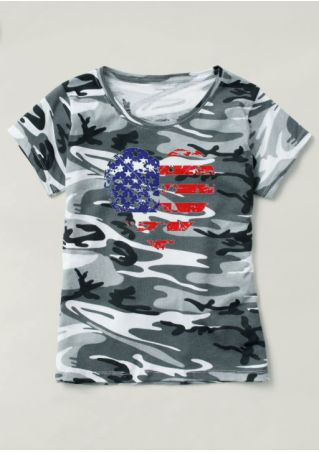 Camouflage Printed American Flag T-Shirt Camouflage